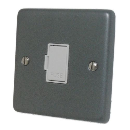 G&H CP90W Standard Plate Pewter 1 Gang Fused Spur 13A Unswitched